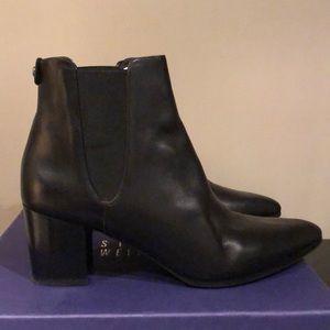 Stuart Weitzman Apogeelo Black Leather Booties